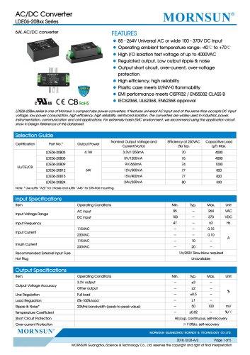 MORNSUN 6W Ultra small size AC/DC converter LDE06-20Bxx