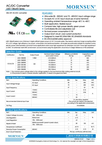 MORNSUN compact 3W AC DC converter LS03-13BxxR3-Flexible design for all-rounder applications