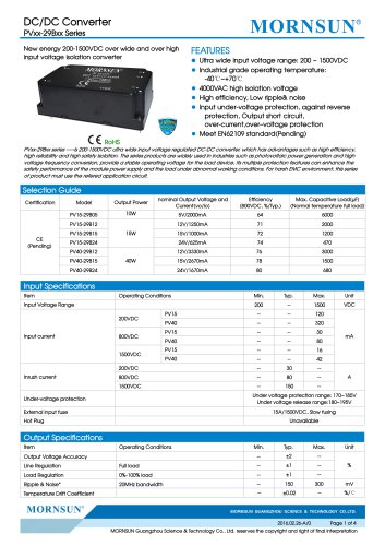 PVxx-29Bxx / 15:2 / 200~1500Vdc input / dc dc converter / photovoltaic power / 10, 15, 40 watt