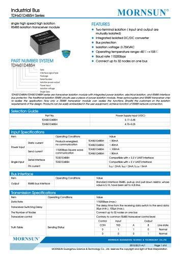 TDx01D485 / 485bus / 0~115.2Kbps /32 nodes