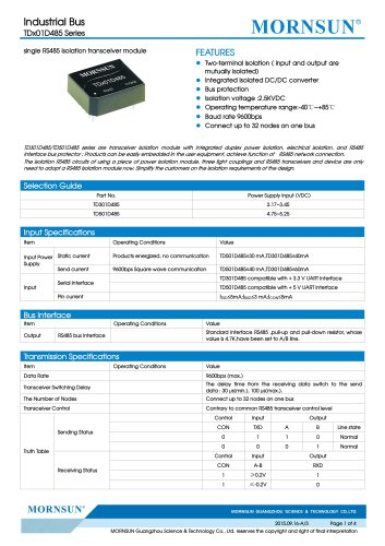 TDx01D485 / 485bus data transceiver module / 0~9.6Kbps / 32 nodes