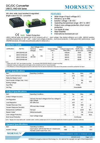 URB1D_YMD-6W / 6watt / (4:1) 40~160vdc input / railway application
