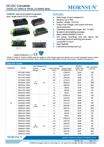 VRA_LD-15WR2 / 2:1 / 15 watt / dc dc converter