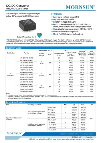 VRB_YMD-20WR3 series are isolated 20W DC-DC products with 2:1 input voltage