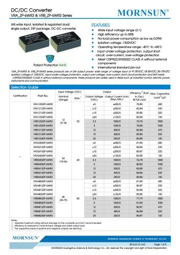 VRB_ZP-6WR3 / 2:1 / 6 watt / dc dc converter / industrial