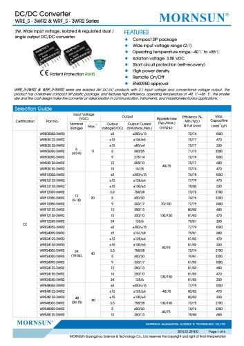 WRE_S-3WR2 / 2:1 /  3watt DC-DC converter / Dual output