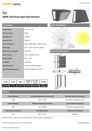 LED Floodlights |300W LED flood light Specification-YAHAM Tri flood lighting