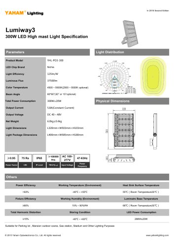 LED HIGH MAST LIGHT |300W Lumiway3 High mast light Specification