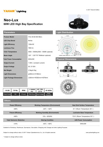 Neo-Lux 60W LED High Bay Specification