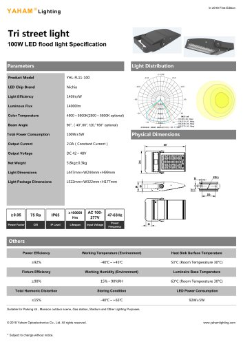 Tri street light 100W LED