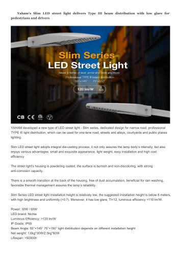 yahamlighting Slim LED Street light