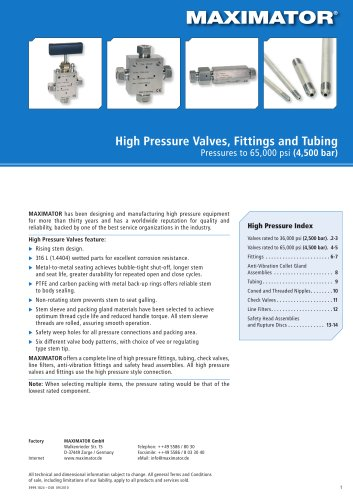 High Pressure Valves, Fittings and Tubing