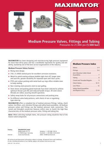 Medium Pressure Valves, Fittings and Tubing