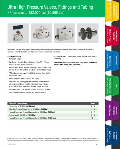 Ultra High Pressure Valves, Fittings and Tubing »  Pressures to 152,000 psi (10,500 bar)