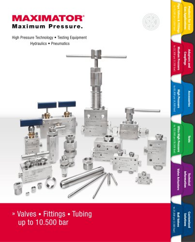 Valves • Fittings • Tubing   up to 10.500 bar