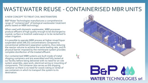 WASTEWATER REUSE -CONTAINERISED MBR UNITS