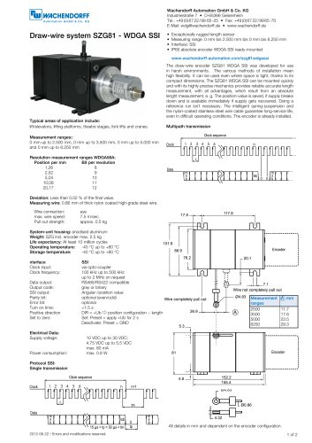 Assembly instructions draw-wire system SZG81 with absolute encoder WDGA SSI