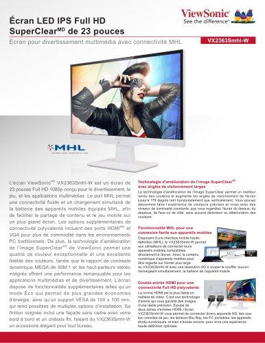 Écran LED IPS Full HD SuperClearMD de 23 pouces