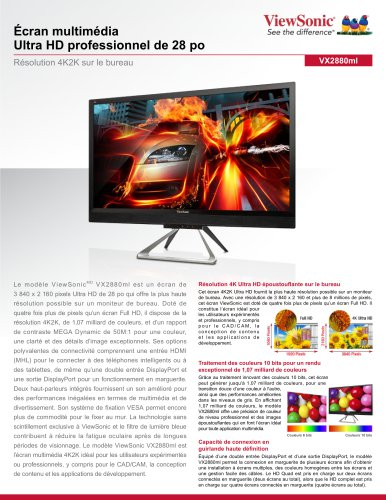 Écran multimédia Ultra HD professionnel de 28 po