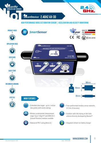 BeanDevice AX-3D - Wireless accelerometer with built-in datalogger - datahseet