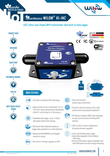 BeanDevice® Wilow® HI-INC - Wifi Inclinometer for Industrial Internet of Things - Datasheet