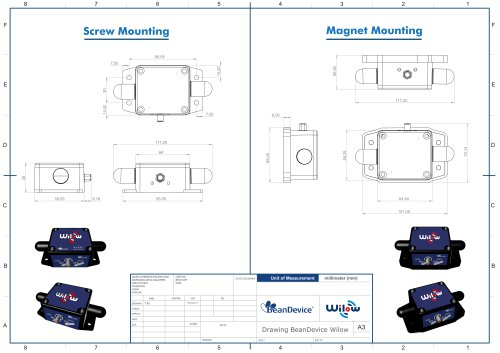 BeanDevice® Wilow® - Wifi sensor for Industrial Internet of Things - Mechanical Drawing