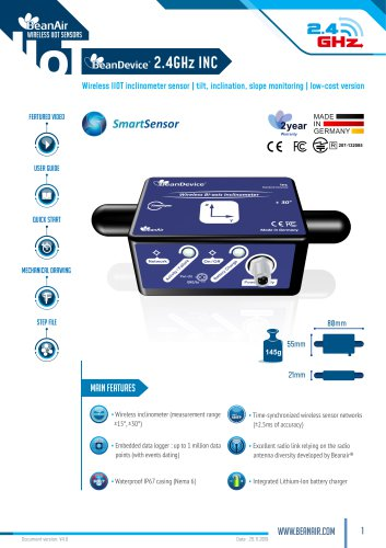 Datasheet BeanDevice® 2.4GHz INC , Wireless Inclinometer for IOT applications