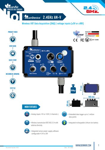 Datasheet wireless DAQ, BeanDevice 2.4GHz AN-V Wireless Analog Data Acquisition System with analog voltage