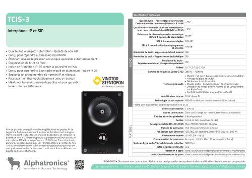 TCIS-3 Interphone IP et SIP