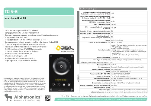 TCIS-6 Interphone IP et SIP