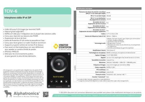 TCIV-6 Interphone vidéo IP et SIP
