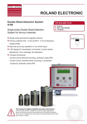 A100  Double Sheet Detection System