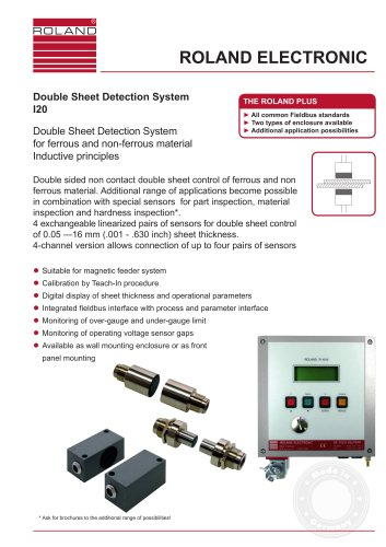 I20 Double Sheet Detector for all metals with non-contacting sensors
