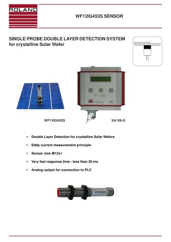 Single probe Double Layer Detection System for solar wafers (Solar sensors WF12IG453S)