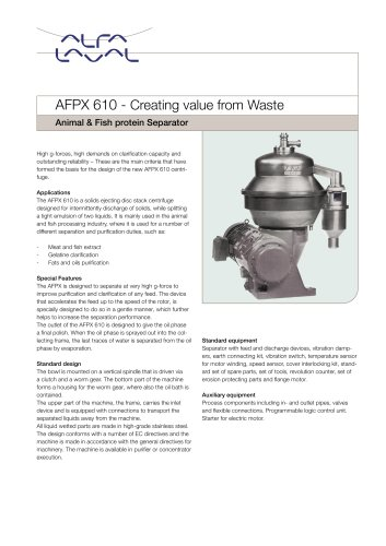 AFPX610 - Animal & Fish protein Separator