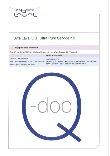 Alfa Laval LKH Ultra Pure Service Kit