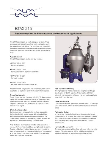 BTAX Series - Separation system for Pharmaceutical and Biotechnical applications