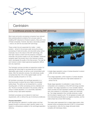 Centriskim - A continuous process for reducing DAF skimmings