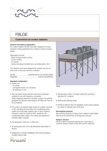 FBLGE - Customized air-cooled radiators