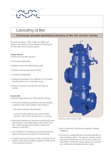 Lube oil filter - with diversion chamber