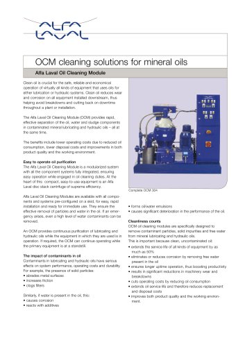 OCM cleaning solutions for mineral oils