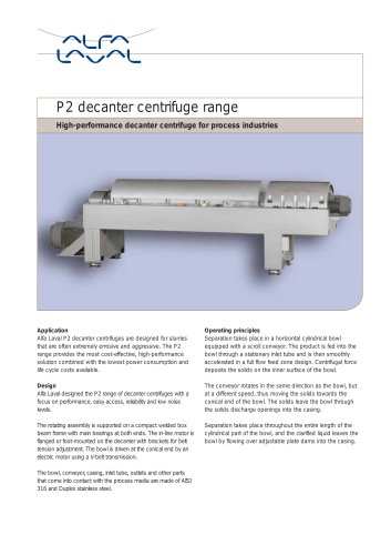 P2 - High performance decanter centrifuge for process industries