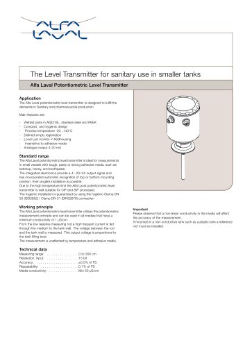 Potentiometric level transmitter