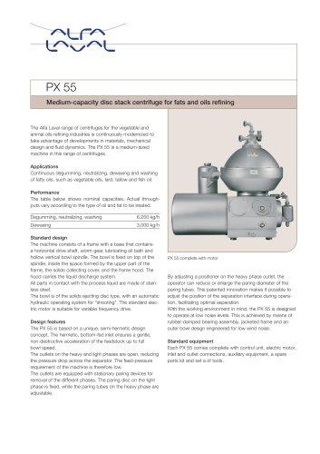 PX 55 Disc stack centrifuge