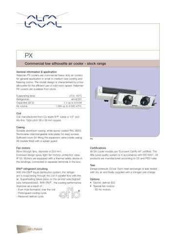 PX - Commercial low silhouette air cooler - stock range