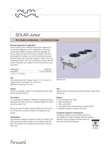 Solar Junior - Air-cooled condensers – commercial range