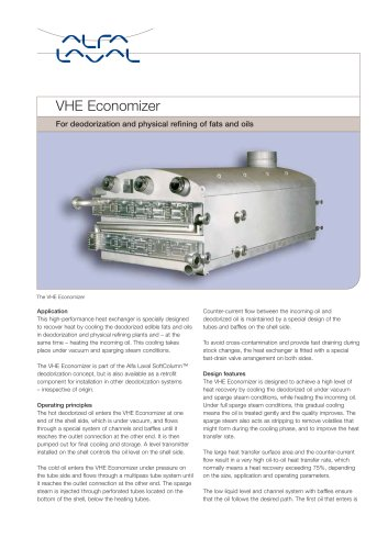 VHE Economizer for deodorization and physical refining of fats and oils