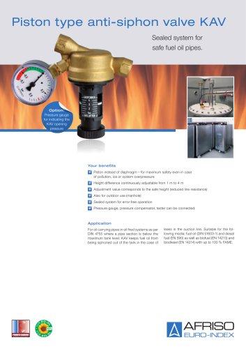 KAV - Piston type anti-siphon valve