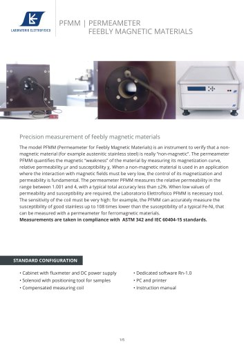 Measurement of feebly magnetic materials - PFMM Permeameter