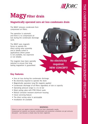 MAGY Filter drain Magnetically operated zero air loss drain